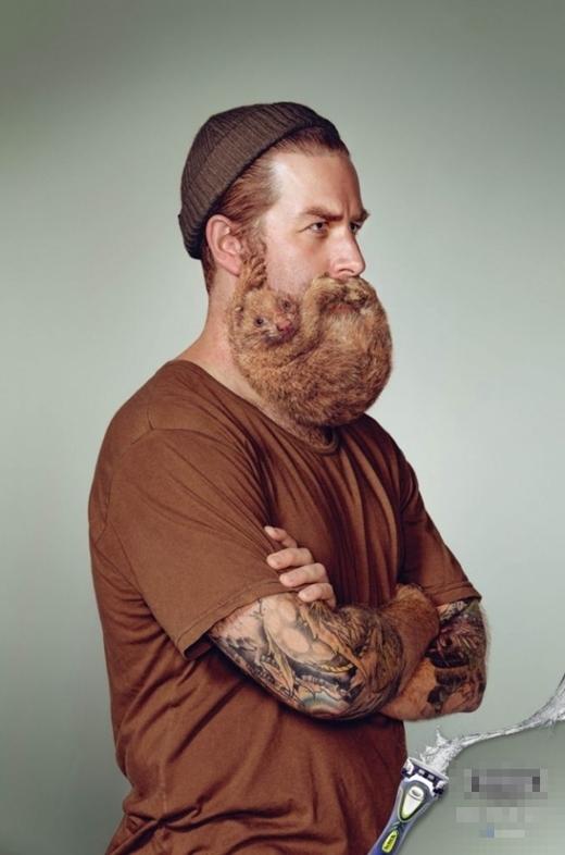 Rất nhiều người chỉ có thể thấy đàn ông với bộ râu. Nhưng thực chất là con hải li và người đàn ông. (Ảnh: Internet)