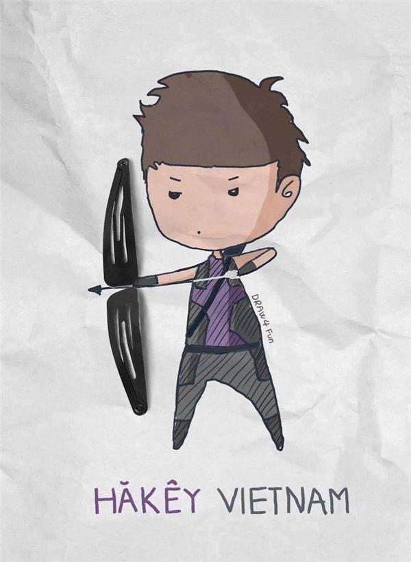 """Chỉ với hai chiếc kẹp tóc trẻ em, chàng Hawkeye vẫn """"ngầu"""" như trái bầu.(Ảnh: Nguyễn Quang Huy)"""