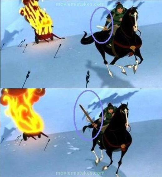 Thanh kiếm trong Mulan có khả năngtự động tra vào vỏ.