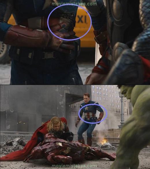 Trong The Avengers, vết thương của Captain America tự động biến mất.