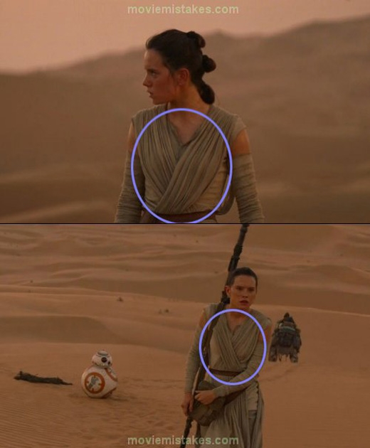 Một cảnh đầu phim Star Wars: Episode VII - The Force Awakens, nếp áo của Rey bị thay đổi vị trí.
