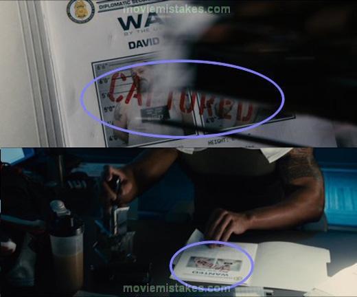 Trong Furious 7, từ CAPTURED bị thay đổi vị trí.
