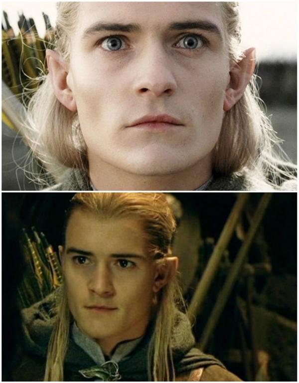 Trong The Hobbit, Legolas có đôi mắt xanh lơ, nhưng trong Lord of the Rings, anh lại có mắt đen.
