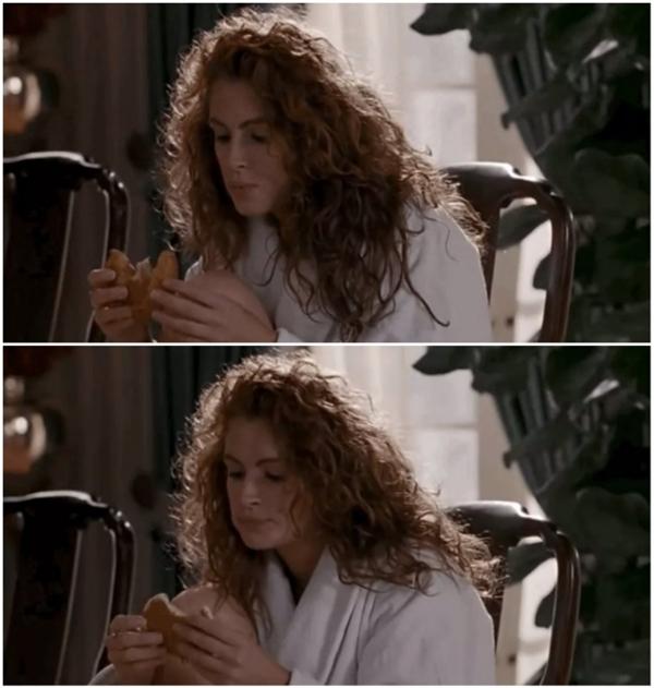 Một cảnh trong Pretty Woman, ban đầu Julia Roberts đang ăn một chiếc bánh sừng bò. Nhưng sau khi chuyển cảnh, nó đã biến thành bánh pancake.
