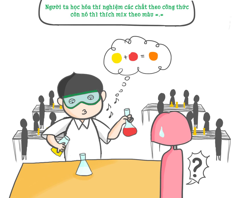 """Nhưng cũng rất hồi hộp trước """"Mr Pha Màu"""" khi ngồi thí nghiệm chung giờ hóa học."""
