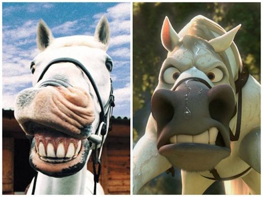 Hãy tìm sự khác biệt giữa hai tấm hình của chú ngựaMaximus trong phimRapunzel. (Ảnh: Internet)