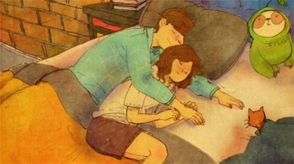 Nếu em mệt mỏi quá thì anh quyết định sẽ ôm em cả đêm, vì anh lolỡ em cóbung chăn ra cũng không lo em sẽ bị lạnh.