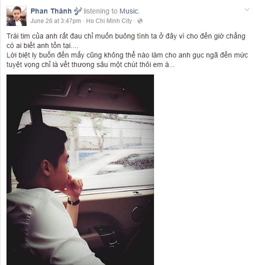 Để ý trên trang cá nhân củaPhan Thành, anh thường đăng tải những câu nóiđầy tâm trạng, đặc biệt ám chỉ về chuyện tình cảm. - Tin sao Viet - Tin tuc sao Viet - Scandal sao Viet - Tin tuc cua Sao - Tin cua Sao