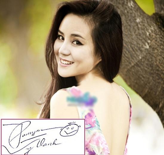 Việc kết hợp biểu tượng vui vẻ khi kí tên là sở thích của nữ ca sĩ Vy Oanh. - Tin sao Viet - Tin tuc sao Viet - Scandal sao Viet - Tin tuc cua Sao - Tin cua Sao
