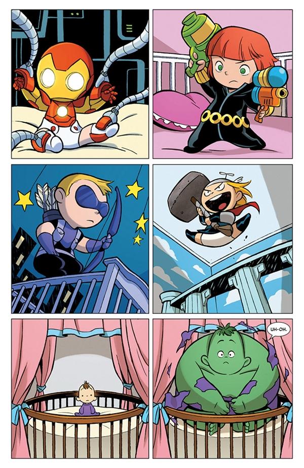 Đáp lời chàng Captain tài ba luôn có Người Sắt, Black Widow, Hawkeye, Thor (mặt ham hố) và Người khổng lồ xanh (mặt hoang mang).