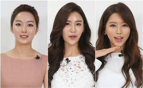 Ba cô gái dính nghi án can thiệp việc phẫu thuật thẩm mỹ quá nhiều, Lee Chae-young (trái) với gương mặt cứng đơ như tượng sáp, Lee Hyo-jin (giữa) dù được đánh giá triển vọng song chiếc cằm khá dị của cô lại là điểm trừ, còn Yang Hee-sun lại bị chê có gương mặt sưng phù.