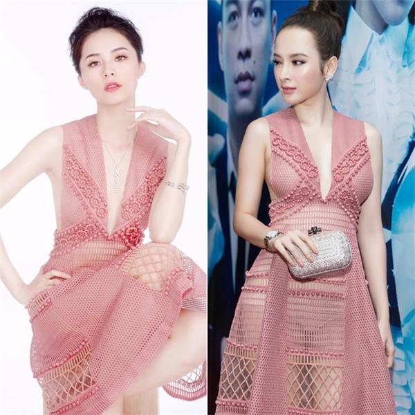 Diện lại bộ váy này khi xuất hiện trên trang bìa của 1 tạp chí thời trang danh giá, Hạ Vi lại được khen ngợi bởi sự gợi cảm chừng mực. Chính vòng 1 khiêm tốn đã giúp nữ diễn viên không bị hớ hênh.