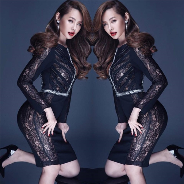 Linh Chi ấn tượng và sắc sảo với phong cách all-balck trong bộ hình mới thực hiện.