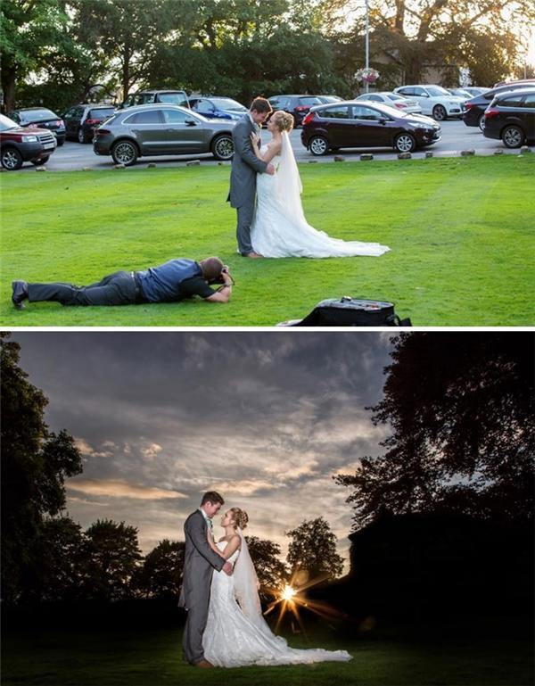 Chỉ đúng mỗi cô dâu chú rể và bãi cỏ là phiên bản gốc mà thôi.