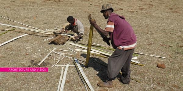 Vật liệu xây dựng rất dễ tìm, đó là tre...