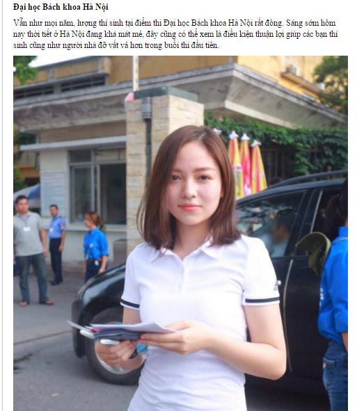 Hình ảnh cô gái xinh xắn tại một điểm thi đại học tại Hà Nội. (Ảnh: Internet)