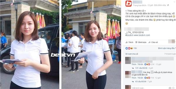 Một trang mạng sau khi đăng tải đã thu hút tới hơn 15.000 người yêu thích hình ảnh nữ sinh này.(Ảnh: Internet)