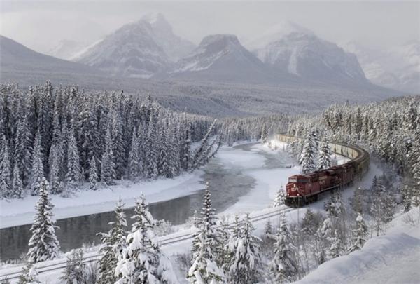 Đoàn tàu xuyên qua khu rừng Taiga mùa đông tại Nga.
