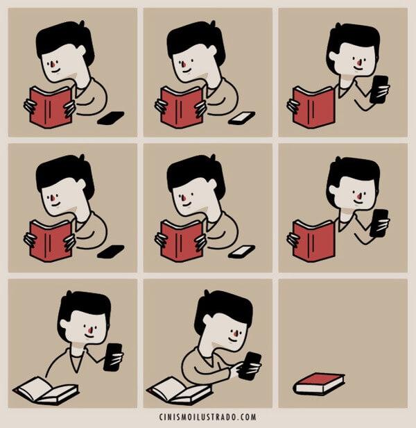 Nếu sách từng là tri kỉ suốt ngày đêm thì bây giờ nó lại là món đồ tạm bợ sau chiếc điện thoại.