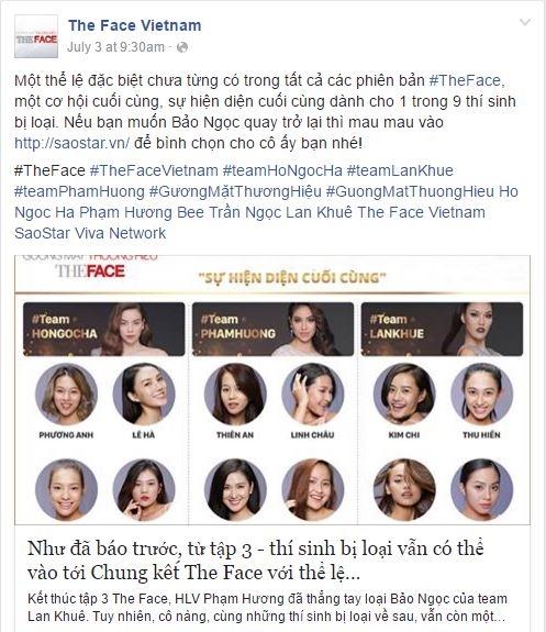 The Face công bố luật mới cứu thí sinh bị loại trên trang fanpage.