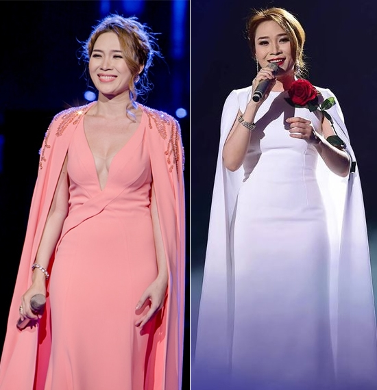 Các mẫu váy dáng cape được cô sử dụng trên sân khấu vô cùng quý phái và sang chảnh. - Tin sao Viet - Tin tuc sao Viet - Scandal sao Viet - Tin tuc cua Sao - Tin cua Sao