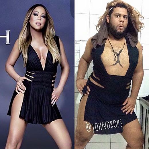 Nữ danh ca Mariah Carey chắc chắn không thể sánh bằng John ở... cặp đùi.