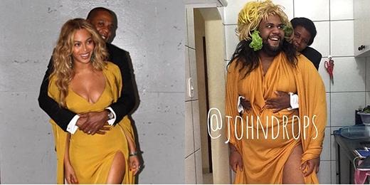 """Vợ chồng Beyonce cũng không thoát khỏi """"nanh vuốt cosplay"""" của John."""