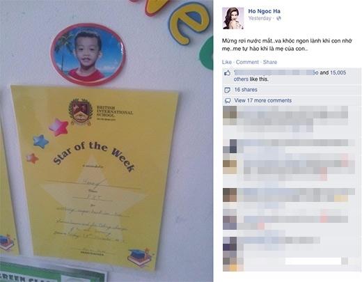 Đó là khi nữ ca sĩ hãnh diện khoe thành tích học tập của Subeo trên mạng xã hội. - Tin sao Viet - Tin tuc sao Viet - Scandal sao Viet - Tin tuc cua Sao - Tin cua Sao