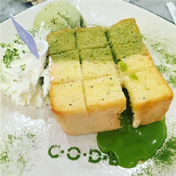 """Ngoài ra, bạn có thể chọn hương vị trà xanhcho bánh toast """"dung nham"""" đặc biệt này.(Ảnh: Instagram)"""