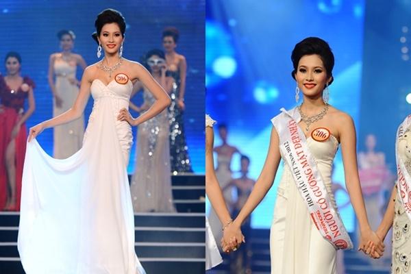 Trong các Hoa hậu Việt Nam, Thu Thảo là người phô diễn được tối đa vẻ đẹp hình thể trong đêm chung kết khi chọn diện bộ váy trắng cúp ngực, ôm sát cơ thể.