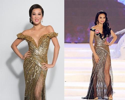 """Năm 2014, Kỳ Duyên gây tranh cãi dữ dội khi đăng quang Hoa hậu Việt Nam. Bộ váy mà cô diện lấy sắc vàng kim pha đen làm chủ đạo trên nền chất liệu xuyên thấu. Thiết kế bị nhận xét """"đạo"""" ý tưởng bộ váy mà MC Kỳ Duyên từng diện."""
