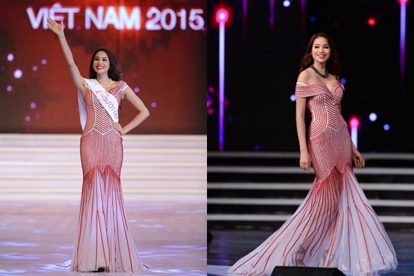7 năm sau, Phạm Hương diện váy đuôi cá xuyên thấu gợi cảm trong thời khắc được xướng tên cho ngôi vị cao nhất của Hoa hậu Hoàn vũ Việt Nam 2015. Đây là thiết kế của Công Trí.