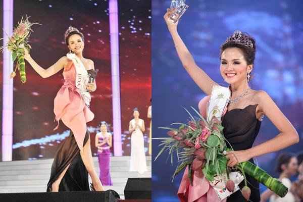 Bộ váy của Diễm Hương tại Hoa hậu Thế giới người Việt 2010 kết hợp hai tông màu: đen, hồng trên nền những cánh hoa cách điệu bắt mắt.