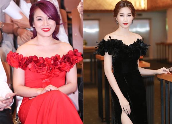 Dù khác biệt về màu sắc, chất liệu nhưng không khó để nhận ra thiết kế này có nhiều điểm tương đồng với bộ váy mà Hoa hậu Việt Nam 2012 Đặng Thu Thảo từng diện cách đây vài tháng.
