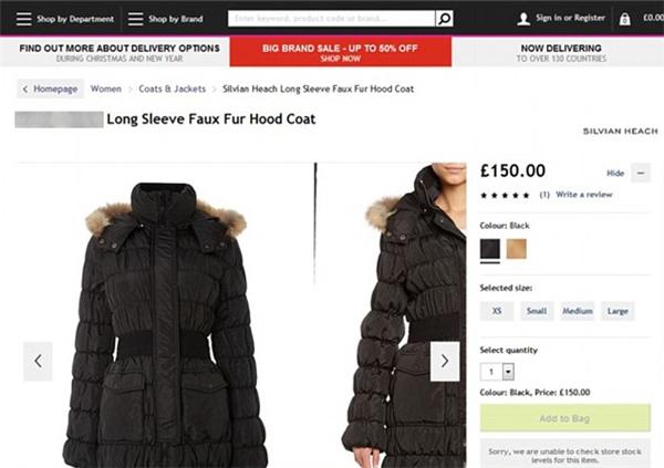 """Một chiếc áo khoác""""lông thậtnhưng quảng cáo làlông giả"""" được bày bán trên website. (Ảnh: Internet)"""