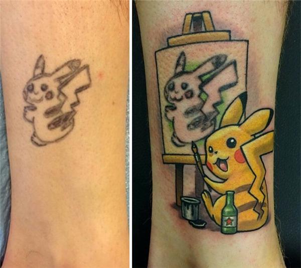 """Hình xăm Pikachu """"xấu ỉn"""" này không bị chủ nhân """"lấp liếm"""" đi mà ngược lại, còn đem nó làm chủ đề cho hình xăm mới dễ thương hơn rất nhiều. (Ảnh: Lindsay Baker)"""