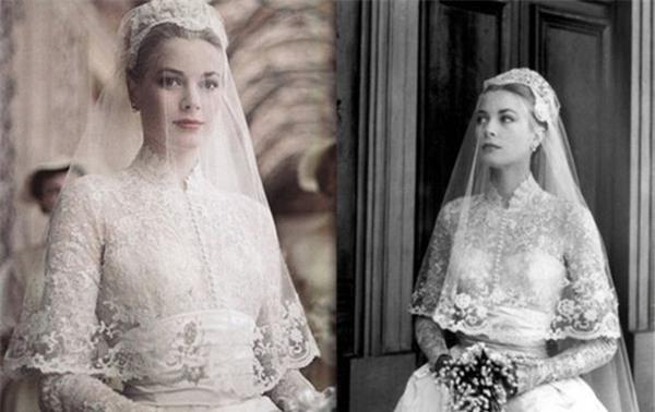 Vẻ đẹp tinh khiết, đài các của công nương Grace Kelly trong ngày cưới.