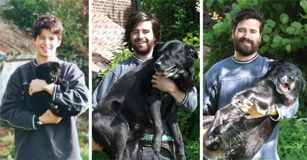 Trước khi nói lời chia tay với chú cún đã chung sống cùng mình 15 năm qua, anh chàng này đã ghép lại tất cả ảnhchụp từlúc nó mới được mang về nhà.