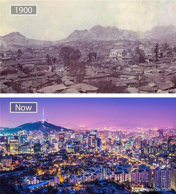 Kinh tế Hàn Quốc đã có sự phát triển mạnh mẽ, từ một trong những nước nghèo nhất thế giới sau cuộc chiến tranh Triều Tiên trở thành một trong những nước giàu, đứng thứ bakhu vực châu Á và đứng thứ 10 trên toàn thế giới. Hình ảnh này là minh chứng cho sự phát triển thần kì của Hàn Quốc: từ một vùng đất hoang sơ, Seoul đã bứt phá trở thành thành phố hiện đại hàng đầu thế giới.(Ảnh: Bored Panda)