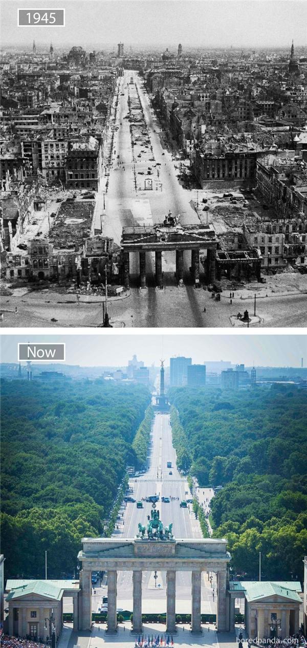 Năm 1945, Berlin trở thành mục tiêu tấn công của quân đồng minh nhằm tiêu diệt sào huyệt phát xít Đức cùng trùm phát xít Hitler. Vì vậy, quân đồng minh đã dội lượng lớn bom xuống Berlin, Đức, khiến nhiều công trình phá hủy. Nhìn hình ảnh Berlin thanh bình ngày nay, chúng ta vẫn không thể quên được mộtBerlin hoang tàn năm nào.(Ảnh: Bored Panda)