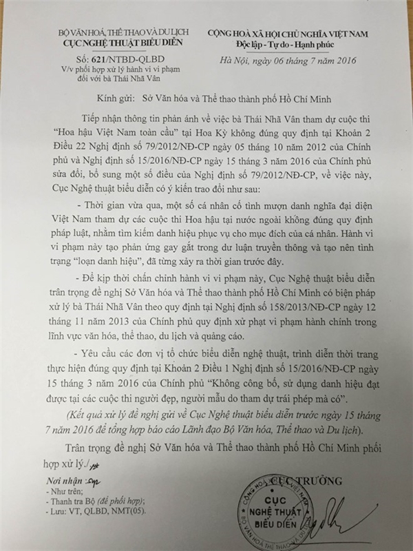 Biên bản yêu cầu từ phía Cục Nghệ thuật Biểu diễn xem xét, xử lý trường hợp của Thái Nhã Vân.