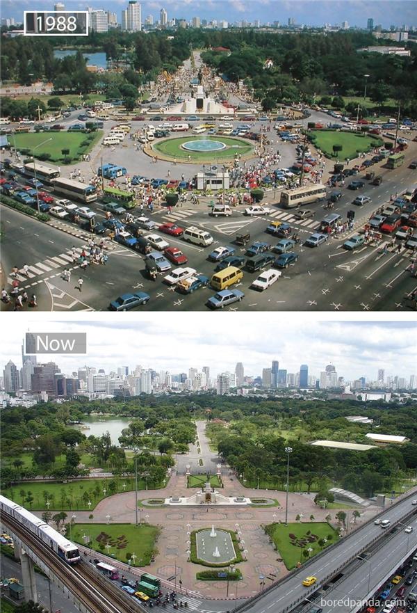 Với vai trò thủ đô vương quốc Xiêm, Bangkok chứng kiến sự hiện đại hóa nhanh chóng của đất nước cùng những biến động chính trị lớn của Thái Lan từthế kỉ 19cho đến nay.Sự bùng nổ kinh tế của khu vựcĐông Nam Ánhững năm 1980 và 1990 đã thúc đẩy nhiều công ty đa quốc gia đặt trụ sở khu vực tại Bangkok. Bangkok hiện là một trung tâm kinh tế và tài chính trong khu vực.(Ảnh: Bored Panda)