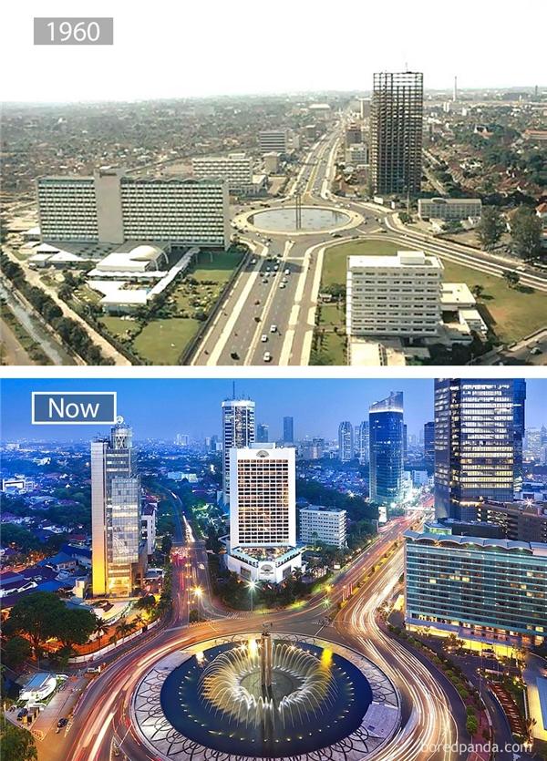 Thủ đô Jakarta nay đã thêm phần sinh động nhờ những tòa nhà cao tầng và nhịp sống hiện đại.(Ảnh: Bored Panda)
