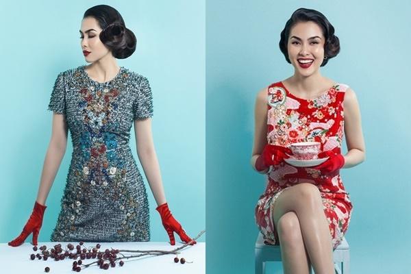 Nữ diễn viên Tăng Thanh Hà khá thành công trong việc lựa chọn mốt tóc cổ điển đi kèm váy áo thanh lịch, sang trọng.