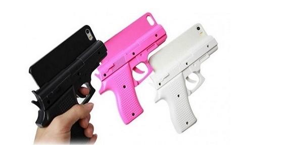 Một số mẫu ốp lưng điện thoại hình khẩu súng. (Ảnh: internet)