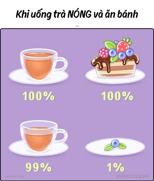 Phục vụ trà cùng với bánh mà cuối cùng bánhlại hết trước.