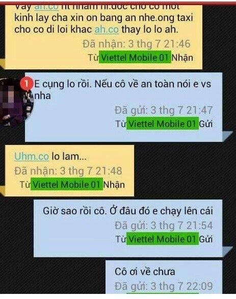 Dòng tin nhắn lạnh người của nữ giám thị coi thi với nam sinhtrước khi bị sát hại. Ảnh: Internet