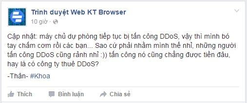 Xác nhận của Khoa vềviệc bị tấn công DDOS. (Ảnh: internet)