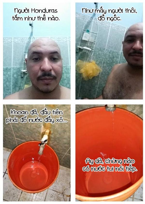 """Người Honduras thì lại... """"bao fail"""" khi bị cúp nước."""