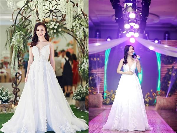 Ái Phương duyên dáng, điệu đà khi diện váy trắng bồng xòe xuất hiện trên thảm đỏ, sân khấu của một đêm tiệc thời trang, giải trí. Bộ váy kết hợp nhiều chất liệu tôn vinh nét mềm mại, gợi cảm như: ren, lưới, lụa…